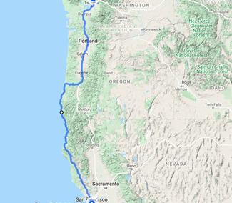 San Francisco to Seattle, WA